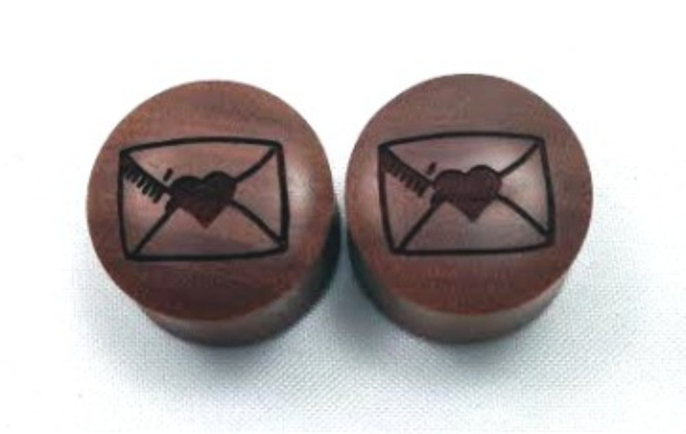 100% Handmade ''Love Letter'' Organic Wood Plugs - You Choose Color/Type of Wood and Size from 7/16'' - 30mm