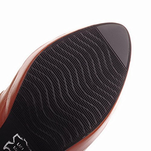 Zipper Solid Women's Spikes Brown Stilettos Boots AgooLar High Top wxU1qCSR