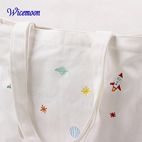 Hand School Zipper Art Wicemoon Straps Fresh Bag Backpack Two Canvas Portable Embroidered Handbag T0Pqg
