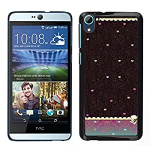 Stuss Case / Funda Carcasa protectora - Corazón del trullo de Brown del papel pintado de la vendimia; - HTC Desire D826