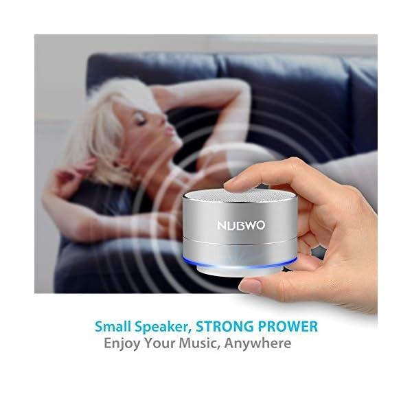 Enceinte Bluetooth, NUBWO A2 Enceinte Bluetooth Mini Portable de Voyage, Enceinte sans Fil avec des Basses Enforcées et des Appels en Mains Libres, Fonctionne avec iPhone, iPad, Samsung – Argent 4