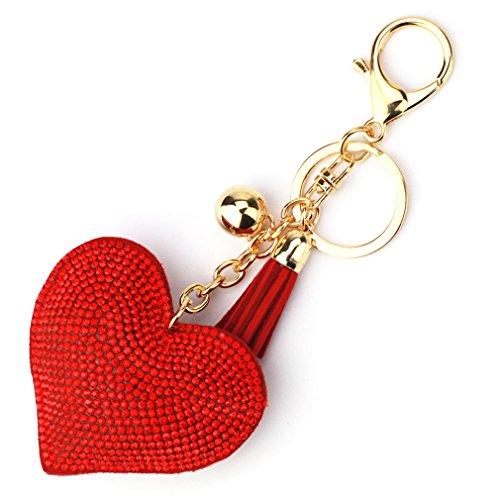 (GUAngqi Love Heart Crystal Rhinestone Leather Tassel Keychain Cute for Car Key Ring Handbag Pendant Decor,Golden red)