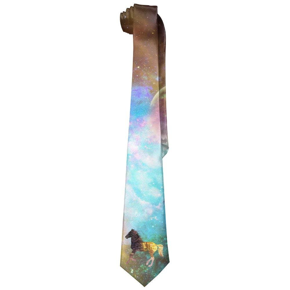 Cool Horse With Tree Sunset Men's Leisure Skinny Necktie Ties Novelty Necktie Silk Cool pillow