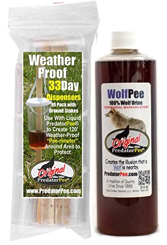 PredatorPee - 100% Pure Wolf Urine - 12oz Squeeze Bottle Combo with 33 Day Dispensers ()