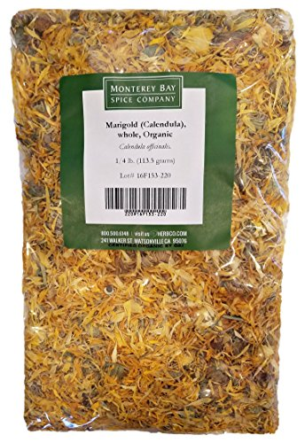 ORGANIC WHOLE CALENDULA FLOWERS 4 OZ Bag (Marigold) – USDA CERTIFIED 100% ORGANIC and KOSHER – Herbal Tea (Calendula Officinalis), Caffeine Free Irradiation Free Bulk Bag (Flowers Herbs Dried)