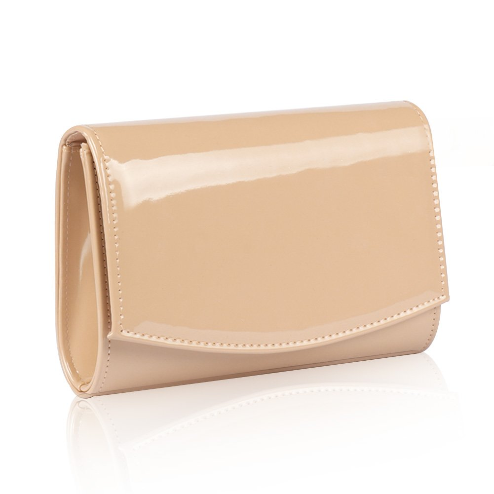 Women Patent Leather Wallets Fashion Clutch Purses,WALLYN'S Evening Bag Handbag Solid Color (New lightbrown)