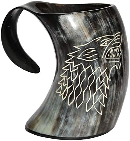 Game of Thrones Stark House Viking Drinking Horn Mug Wolf Carved tankard for Beer Wine Mead ale