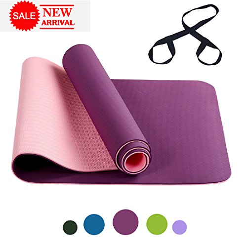 FARLAND Non Slip Yoga Mat with Carrying Strap - Eco Friendly TPE Workout Mat Exercise Mat,Anti-tear Hot Pilates Fitness Yoga Mat in Home & Gym (Pink Purple)