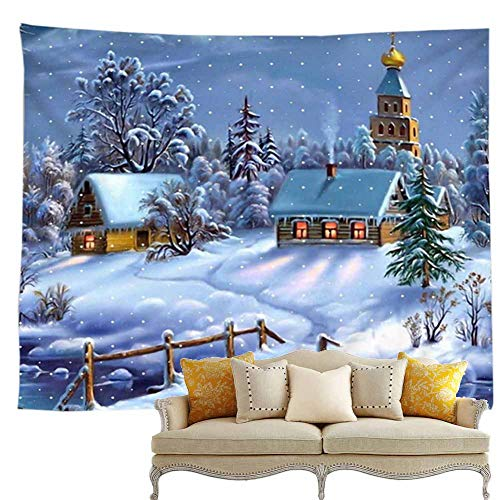 Christmas Wall Decor Tapestry, With Winter Wonderland House Castle White Big Snow Falling Cover Tree River Wood Fence Christmas Party Scene Setters Wall Decoration Background Accessory( 79