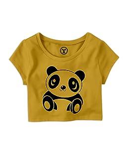 Tees World Women's Cotton Casual Half Sleeve Cute Panda Printed Top (Yellow, Medium)