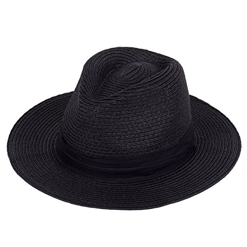 Panama Straw Hat,Womens Sun Hats Summer Wide Brim Floppy Fedora Beach Cap UPF50+ (A13-Black)