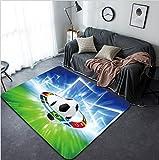 Vanfan Design Home Decorative 163738634 Abstract sports background - soccer ball national team flags bright spotlight Modern Non-Slip Doormats Carpet for Living Dining Room Bedroom Hallway Office Easy