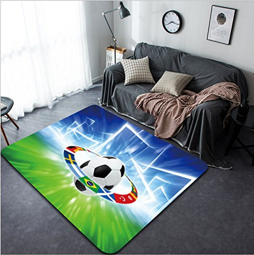 Vanfan Design Home Decorative 163738634 Abstract sports background - soccer ball national team flags bright spotlight Modern Non-Slip Doormats Carpet for Living Dining Room Bedroom Hallway Office Easy by vanfan