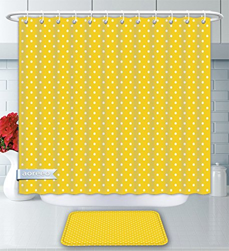 Aoreeo Bathroom Two-Piece Set Yellow Decor Collection Polka Dots On Plain Background Vibrant Vintage Fashion Texture Home Contemporary Shower Curtain Bath Rug Set, 66