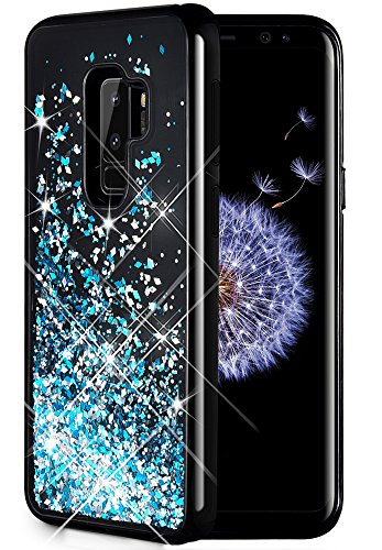 Caka Galaxy S9 Plus Case, Galaxy S9 Plus Glitter Case [Starry Night Series] Luxury Fashion Bling Flowing Liquid Floating Sparkle Glitter Girly TPU Bumper Case for Samsung Galaxy S9 Plus - (Blue)