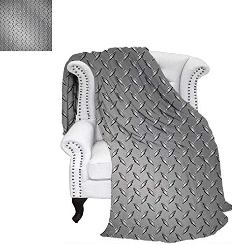 lannel Blanket Wire Fence Design Netting Display with Diamond Plate Effects Chrome Kitsch Motif Print Weave Pattern Blanket 62