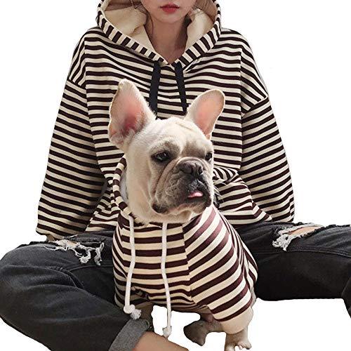 "FLAdorepet Winter Fleece Family Clothes Fog Small Large Dog Strip Pet Sweater Hoodie Shirt Pajamas Women Hoodie Shirt (Only for Mom(Bust:60""), Balck(Fleece Inside))"