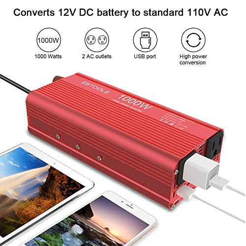 EBTOOLS Car Power Inverter, 1000W/2000W Inverter 12V DC to 110V AC Car Converter with 2 AC Outlets and 2.1A USB port for Laptop, Smartphone, Household Appliances in case Emergency, Storm and Outage by EBTOOLS (Image #1)