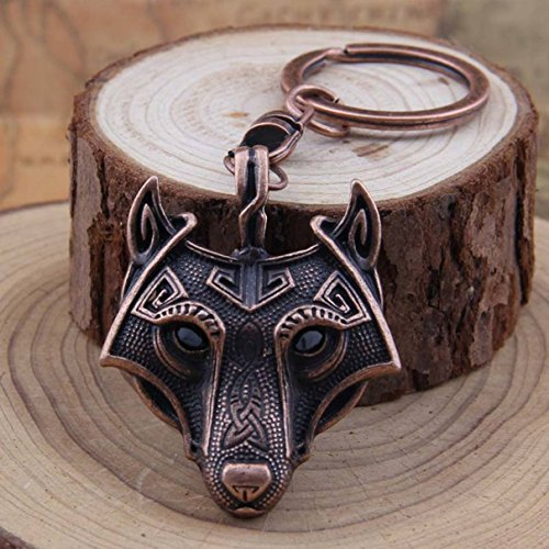 1 Pc Mini Pocket Wolf Talisman Norse Viking Sword Amulet Keychain Keyring Keyfob Antique Fox Copper Pendant Key Chain Ring Fob Tag Excellently Popular Cute Wristlet Utility Keychains Tool, Type-03