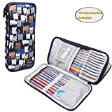 """Arts & Crafts : Teamoy Tunisian Crochet Hook Case(up to 11"""" long), Travel Organizer Bag for Afghan Crochet Hooks, Ergonomic Crochet Hooks, Knitting Needles and Accessories, Well Made, Large Capacity, Cats Blue"""