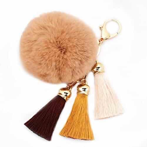 ac976da512f7 Amiley Faux Fur Pom Pom Tassel Car Keychain Handbag Wallet Backpack Key Ring