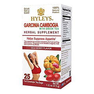 12 Pack - Hyleys Wellness Garcinia Cambogia Green Tea Goji Berry - 25 bags (100% Natural, Sugar Free, Gluten Free and Non GMO)