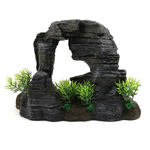 uxcell Resin Cave Rockery Aquarium Fish Tank Landscape Oranment w/Plant Decoration by uxcell