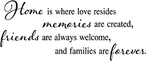 MOVANKRO Home is Where Love Resides, Memories are Created, Friends are Always Welcome,and Families are Forever.Vinyl Wall Decals Quotes Lettering Art Inspirational Décor