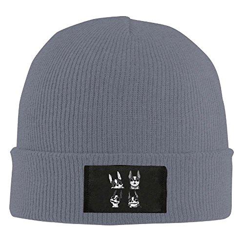 ReBen Men's/Women's Boston Terriers Character Warm Winter Knit Plain Beanie Hat Skull Cap - Shopping Boston Near
