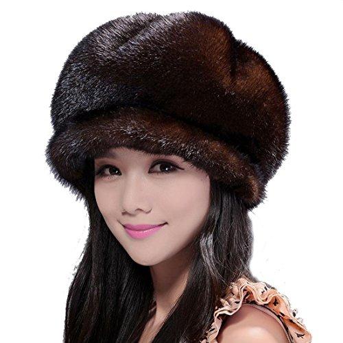 Mink Full Fur Mink Fur Newsboy Caps Hats (Coffee) by Starway0311