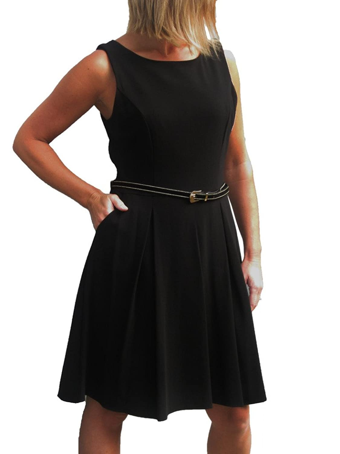 ICE (3955) 60's skater style dress pleated skirt with belt black sizes 8-18