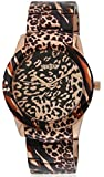 GUESS Women's U0425L3 Brown Patent Watch with Rose Gold-Tone Animal Print