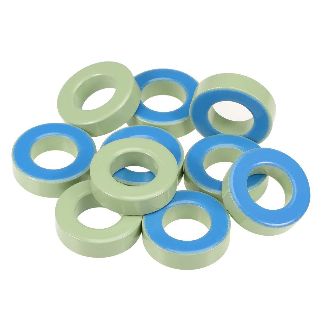 uxcell 10pcs 21.3 x 38.8 x 11.2mm Ferrite Ring Iron Powder Toroid Cores Light Green Blue