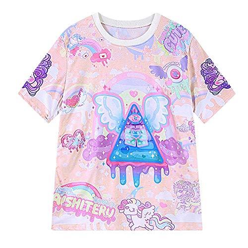 Women Cute Kawaii Tshirts Pink Unicorn Comic Print Harajuku Style Clothes Shirts (Fairy Kei)