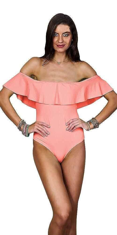 b73d063910152 Maylana Women's Solid Peach Swimwear Ruffles One Piece Swimsuit (Large) at  Amazon Women's Clothing store: