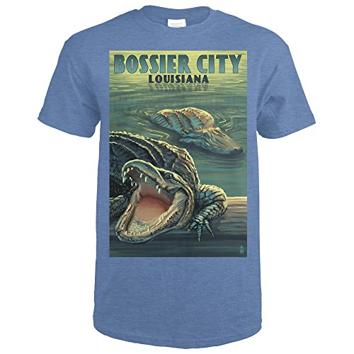 ana - Alligator Scene (Heather Royal T-Shirt Small) (Louisiana Alligator)