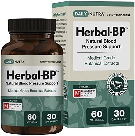 Herbal-BP Natural Blood Pressure Supplement by DailyNutra - Supports Cardiovascular Health & Stress Management | Medical Grade Plant Extracts - Safe, Long-Term Support (60 Capsules)