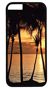 Generic Tropical Palm Tree Ocean Beach Sunset DIY Hard Shell Black Best Designed Case for Iphone 6 4.7''