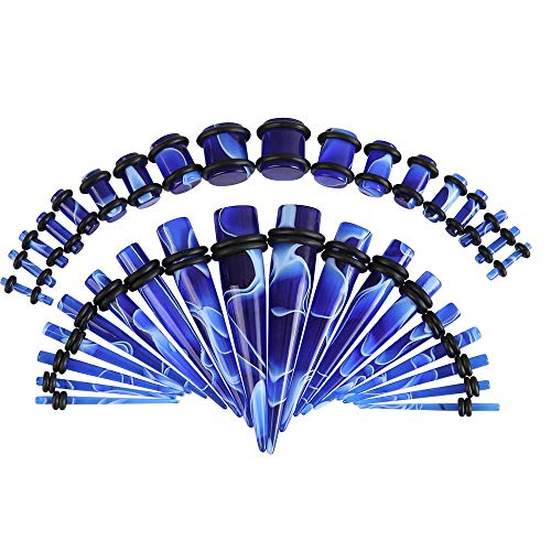 HuayoRong 36Pcs Ear Gauge Stretching kit Marble Acrylic Tapers and Plugs Set Eyelet 00G-14G Body Jewelry(Blue)