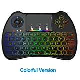 Favormates 2.4GHz Colorful Backlit Wireless Mini Keyboard H9 Pro, Mouse Touchpad Combo, Best Remote Control For Android tv box,HTPC,IPTV,PC,Raspberry pi 3,Pad and More Device (New colorful backlit)