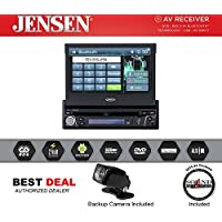 Jensen VX3012 Motorized 7 Single Din Retractable Touchscreen DVD/CD receiver with AM/FM tuner and Bluetooth with Rear View Backup Camera Included and a FREE SOTS Air Freshener