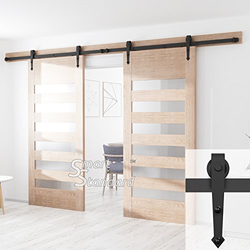 SMARTSTANDARD 12FT Heavy Duty Sliding Barn Door Hardware Kit, Double Rail, Black, Super Smoothly and Quietly, Simple and Easy to Install, Fit 30