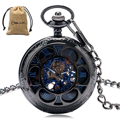 Luxury Men Pocket Watch with Chain Roman Numberal Hollow Steampunk Skeleton Mechanical Watches
