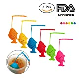 Kuke Silicone Tea Infuser Reusable BPA-Free Cute Animal Fish Eco-Friendly Strainer Loose Leaf Tea Steeper Heat Resistant Up To 480F Perfect Tea Lovers Gift Multicoloured 6 Pcs