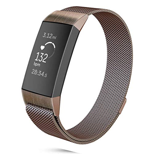 DEKER Milanese Bands Compatible Fitbit Charge 3 Charge 3 SE Advanced Fitness Tracker, Stainless Steel Metal Replacement Accessories Strap Wristbands Women Men Small Large (Coffee, Small)