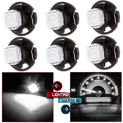 Price comparison product image cciyu 6 Pack White T4.7 Neo Wedge 5050 Led for A / C Climate Heater Control Bulbs Lamp Light Fits For 2001-2012 Dodge Ram 1500 Van Intrepid Dakota Caravan Grand Caravan Ram 5500 4500 3500 Van 3500