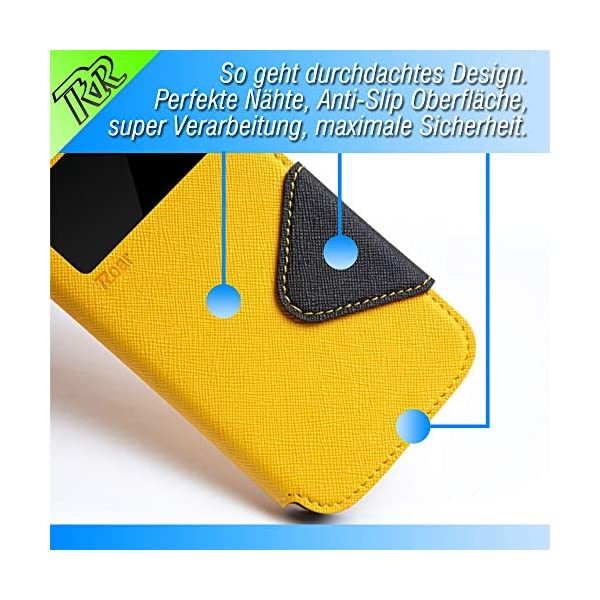 Roar - Sony Xperia Z2 Case Funda Tapa View Cover Wallet Hüllen Carcasa Flip Wallet Funda Libro | Amarillo 4