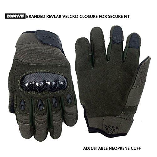 (Zephyr Tactical Full Finger Carbon Fiber Knuckle Gloves w/Touchscreen Technology - Dark Olive -)