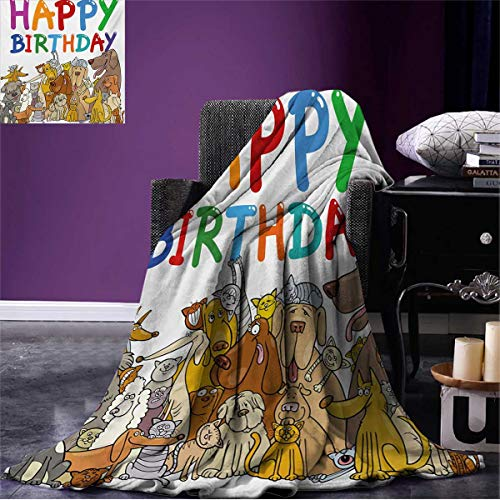 Anniutwo Kids Birthday Throw Blanket Multicolored Cartoon Streets Dogs Cats Animals Party Themed Quote Fun Print Soft Multicolor W80 x L60 ()