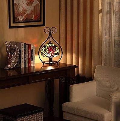 FJX Lámpara de mesa estilo vitral, luces de mesa con fondo de ...